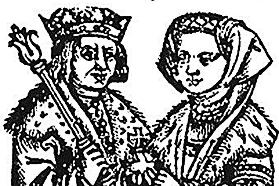 Гравюра XVI века, на которой Александр и Елена изображены вместе