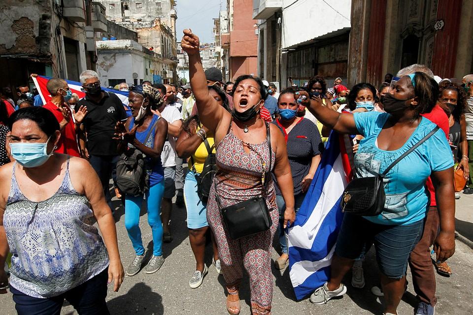 Многотысячные антиправительственные митинги идут не только в Гаване, но и по всей в стране